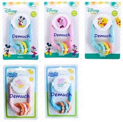 New Disney Mickey Minnie Mouse Rattle Toy Teether New Born Baby 0 Months + UK ✔