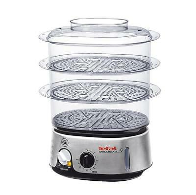 Tefal VC101616 Simply Invents Food Steamer Three Tier, 9L - Black and Chrome