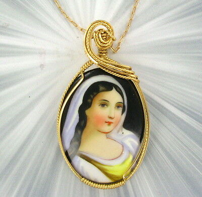 Vintage Antique  Cameo - Hand Painted Pendant