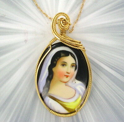 Vintage Cameo Pendant - Hand Painted  Wire Wrapped