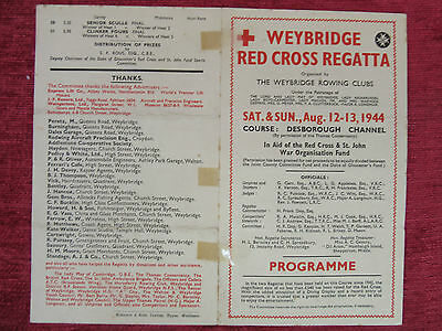 1944 WW2 Rowing Programme Weybridge Red Cross Aug.12 Vintage Sporting FC7