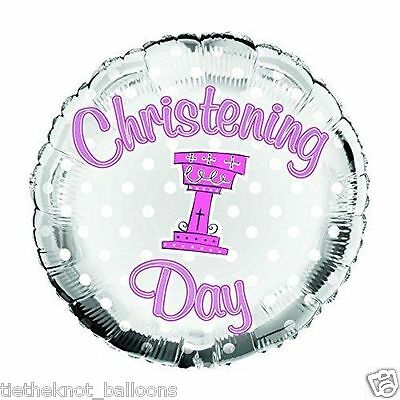 """18"""" Foil Balloon A Christening  Day Girlie Pink & Silver"""