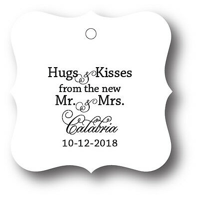 24 Hugs & Kisses from the new Mr. & Mrs. Personalized Wedding Favor Tag