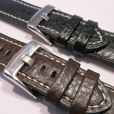 HEAVY DUTY CALF LEATHER WATCH STRAP Stitched Buffalo 18 20 22 24mm Black Brown
