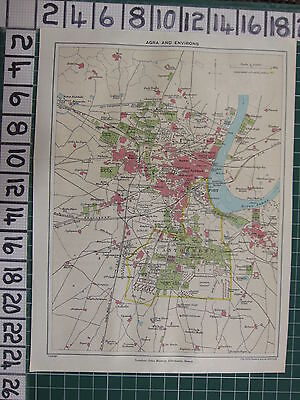 1926 India Indian Tourist Map ~ Agra & Environs Fort Cathedral College Parks