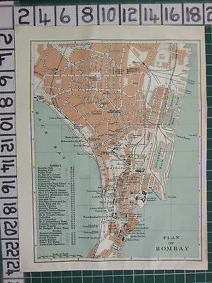 1926 India Indian Tourist Map ~ Bombay City Plan Environs Schools Colleges