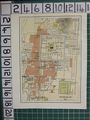 1926 India Indian Tourist Map ~ Mandalay City Plan Fort Dufferin Royal Gardens