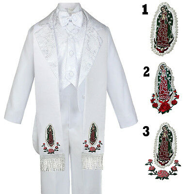 6PC Baby Kid Teen Boy Formal Baptism Paisley Tail White Tuxedo Suit Stole S-20
