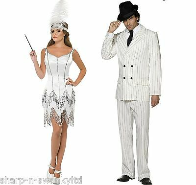 Couples Ladies & Mens White 1920s Gangster Flapper Fancy Dress Costumes Outfits