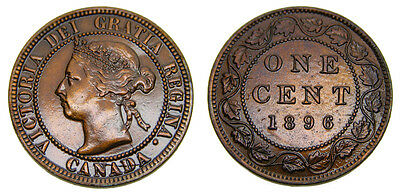 Canada 1896 Large 1 One Cent Queen Victoria Lacquered Mint State 60B