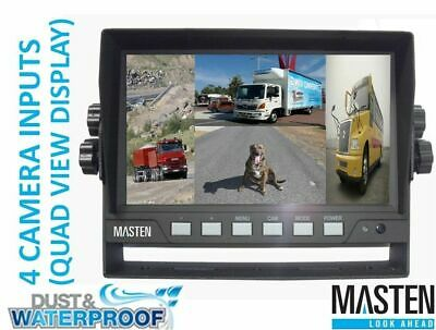 '7 inch TFT LCD Car Monitor Waterproof Backup Rear View Quad View Video 4 Inputs