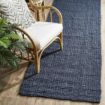 RAMONA NATURAL CHUNKY JUTE NAVY BLUE FLOOR RUNNER RUG 80x300cm **FREE DELIVERY**