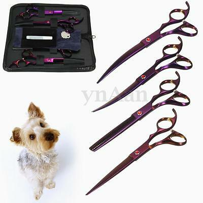 4PC Pro Pet Dog Cat Hair Grooming Scissors Cutting Curved Thinning Shear Kit Set
