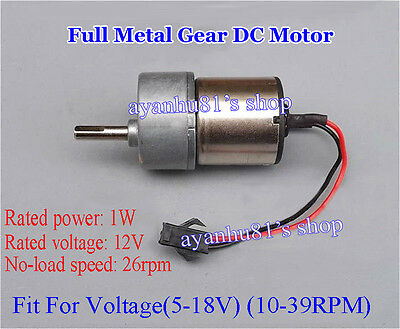 DC 12V 26RPM Full Metal Reduction Gearbox Gear Motor Large Torque For Robot DIY