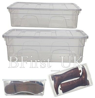 Transparent Clear Plastic Shoes Organiser Storage Box Stackable Drawer With Lid