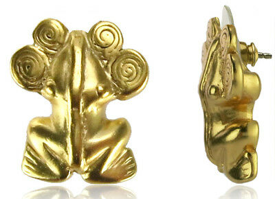ACROSS THE PUDDLE 24k GP Pre-Columbian Frog with Spirals Diadem Drop Pendant