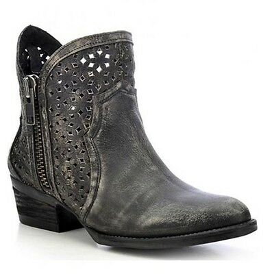 Circle G by Corral Ladies Black/Grey Cutout Shortie Boot Q0001