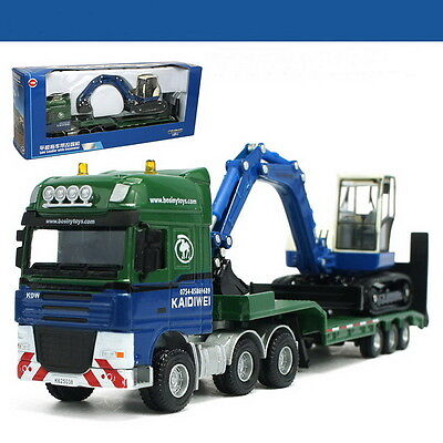 1/50 Scale kaidiwei KDW Low Loader with Excavator Truck Metal Diecast CV