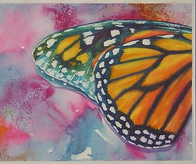 "Unframed Original Watercolor Painting of Butterfly Wings (13"" x 11"") (DGP)"