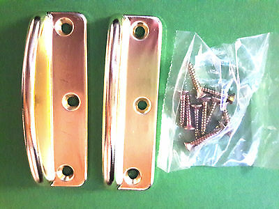 One Pair of Wood Window Sash Lift Style Brass Plated and Screws
