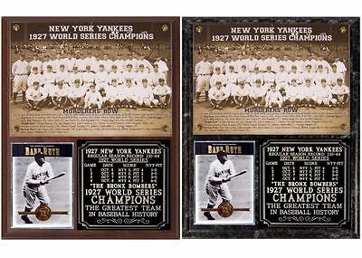 1927 New York Yankees World Series Champions Murderers Row Photo Card Plaque