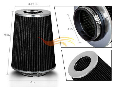 """BLACK 4"""" 102mm Inlet Truck Air Intake Cone Replacement Quality Dry Air Filter"""