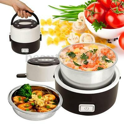 Portable Lunch Box 2 Layer 1.0L Mini Electric Steamer Pot Heating Rice Cooker