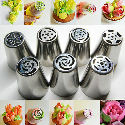 7Pcs Easy Flower Piping blossom Tool Cake Cupcake Icing nozzles Tips Rose Tulip