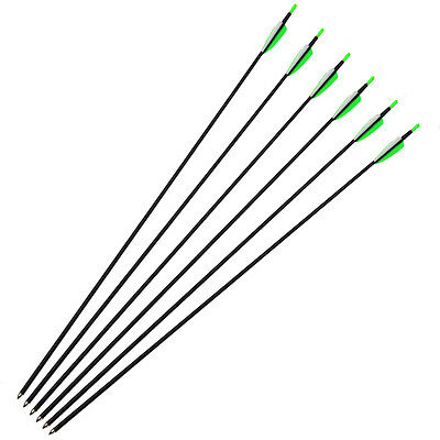 "30"" Carbon Arrows Spine 700 Archery Arrow Fletching For Recurve Bow 6 pcs Green"