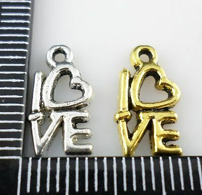 20/80/600pcs Ancient Gold/Silver letter Love Charms Pendant 8x14.5mm