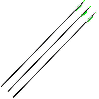 "30"" Carbon Arrows Spine 700 Archery Arrow Fletching For Recurve Bow 3 pcs Green"