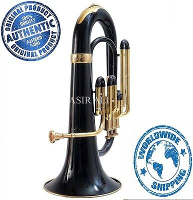 Black Colored Euphonium Classic Look + Nicely Tuned With Free Hard Case+Mouth Pc