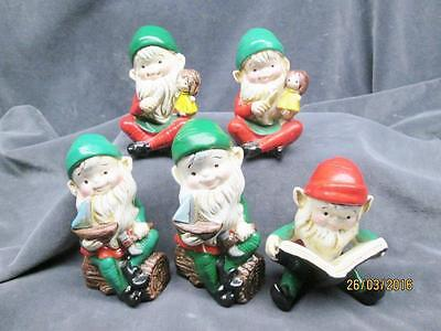 5 Vintage Homco Ceramic Toy Making Elves Christmas Figures Made In Taiwan
