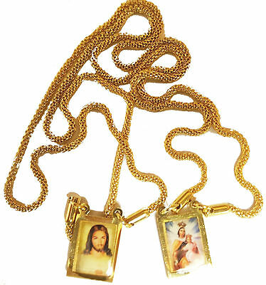 Our Lady Mount Carmel Holy Scapular Medal Vintage Catholic 24K Gold Filled Chain
