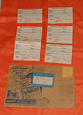 vintage cereal premium DICK TRACY JUNIOR DETECTIVE KIT envelope and parts only
