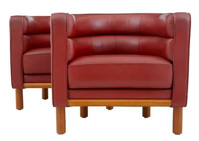 PAIR OF LARGE 1970's RED LEATHER CLUB ARMCHAIRS