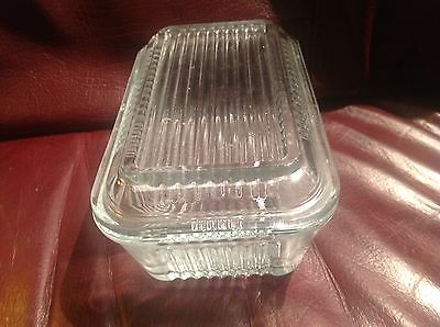 Vintage Pasabahce Clear Ribbed Glass Refrigerator Butter DISH & LlD VGC