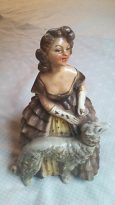 Vtg Chalkware Chalk Ware Woman/Lady in A Dress with Dog