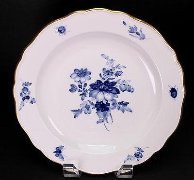"Meissen Blue White Floral Porcelain 8 1/2"" Wide Salad or Dessert Plate - A"