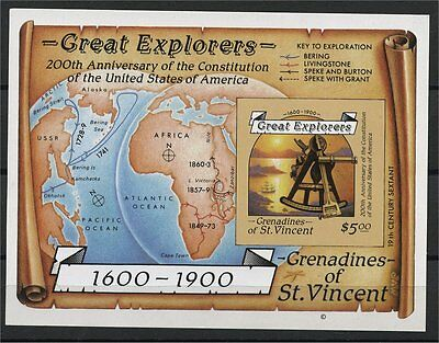 Great Explorers, Imperforated Souvenir Sheet 1987, Grenadines, Mnh