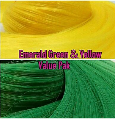 Yellow & Green XL 4oz 2 Color Value Pak Nylon Hair Hanks for Rooting MLP & Dolls