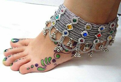 New Ethnic Kuchi Tribal Bellydance Oxidised Anklet-Payal Gypsy Banjara Anklet