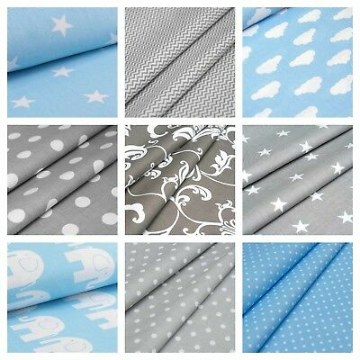Grey and Blue 100% Cotton Fabric - Elephant, Stars, Chevron, Clouds