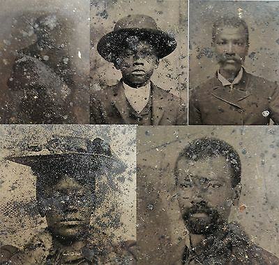 Antique Victorian African American Family Tintype Photos Lot Chicago Area Origin