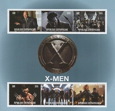 X- Men First Class Comic Movie Republique Centrafricaine 2016 Mnh Stamp Sheetlet