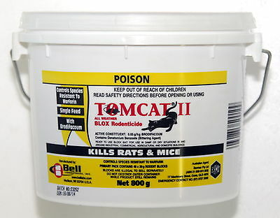 TOMCAT II ALL WEATHER BLOX 800gm (40 x 20g Blocks) (Rat & Mouse Bait Poison)