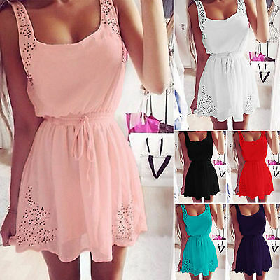 Womens Ladies Sleeveless Party Evening Cocktail Beach Casual Mini Short Dress