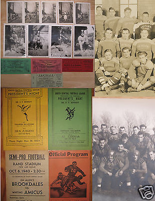 Vintage Ww2 Era South Chicago Semi Pro Football Archive Lot Tickets Photos Broad