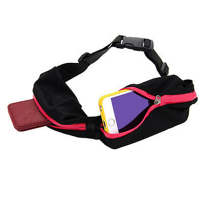 Double Outdoor Sports Running Waist Bag Pocket Belt For Samsung Cell Phone Rose