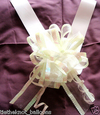 6m SATEEN WEDDING CAR RIBBON & 1 LARGE 50MM ORGANZA PULL BOW IVORY
